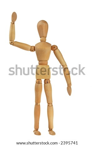 Person waving hello on white - stock photo