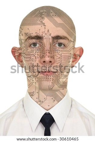 Person with a circuit computer skin on white background - stock photo