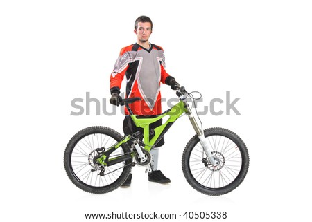 Person with a mountain bike isolated against white background