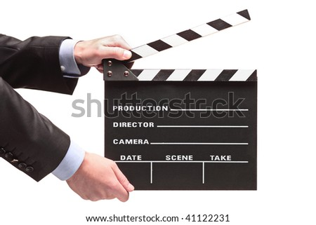 Person with a movie clap isolated against white background