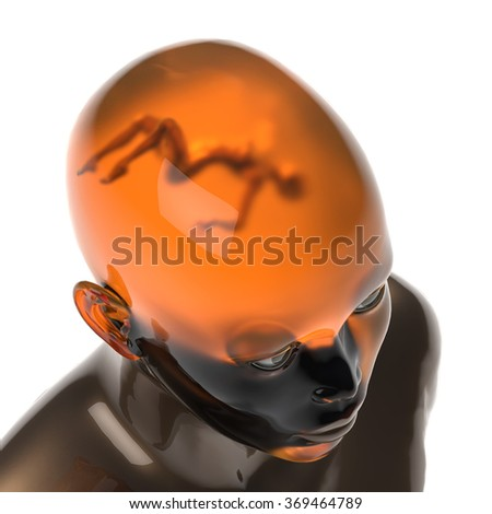 person with a woman in his head - stock photo
