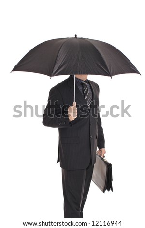 Person with an umbrella isolated on white - stock photo