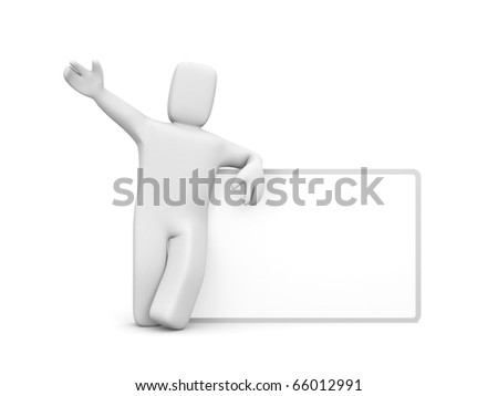 Person with billboard - stock photo