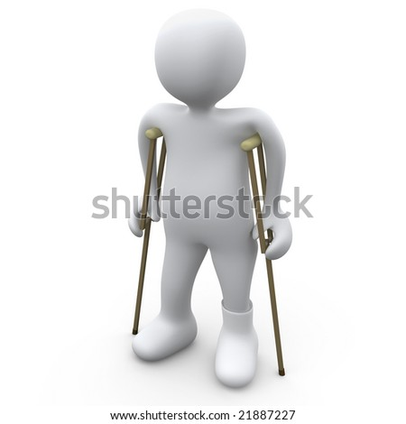 Person With Broken Foot - stock photo