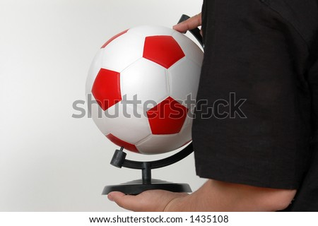 person with football in hand. - stock photo