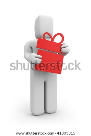 Person with gift - stock photo