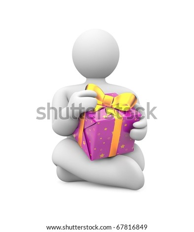 Person with gift box. Image contain clipping path