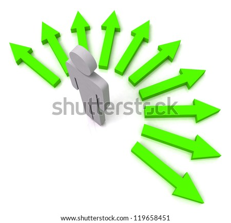 Person With Green Arrows Shows Many Choices of Paths