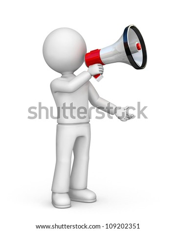 Person with megaphone - stock photo