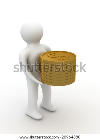 person with money for a white background. Isolated 3D image - stock photo