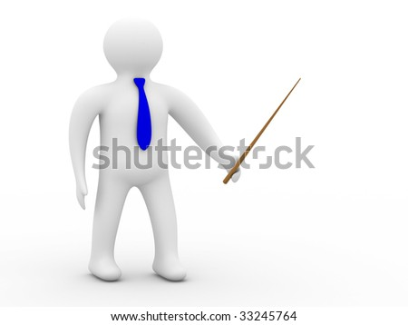 person with pointer on white background. Isolated 3D image.