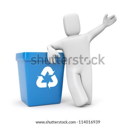 Person with recycling bin - stock photo