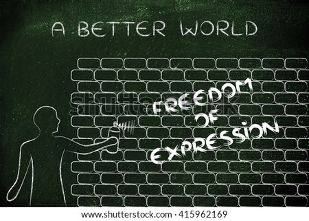 Person spray paint writing word freedom stock illustration person with spray paint writing the word freedom of expression as wall graffiti a better ccuart Image collections