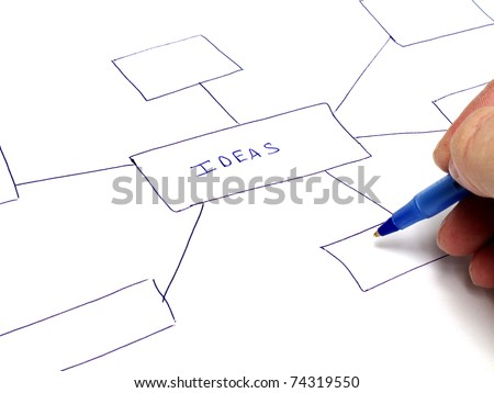 Person writing notes on paper about plans for ideas - stock photo