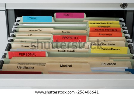 Personal and House Documents Organization -  Hanging Files in File Cabinet Drawer - stock photo