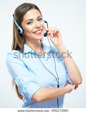 Personal assistant in the business. Hot helpline worker. Iolated portrait. business woman. - stock photo