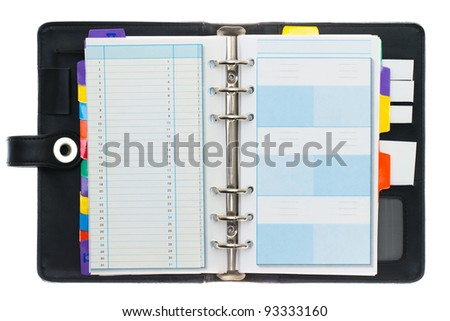 Personal black organizer isolated on white.