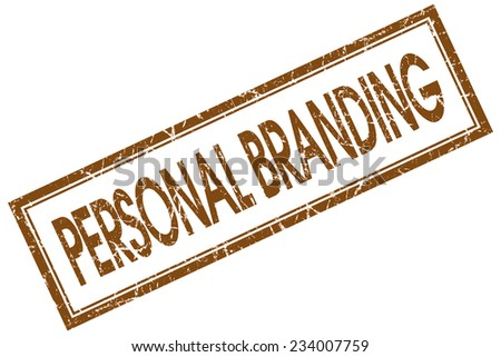 personal branding red square stamp isolated on white background - stock photo