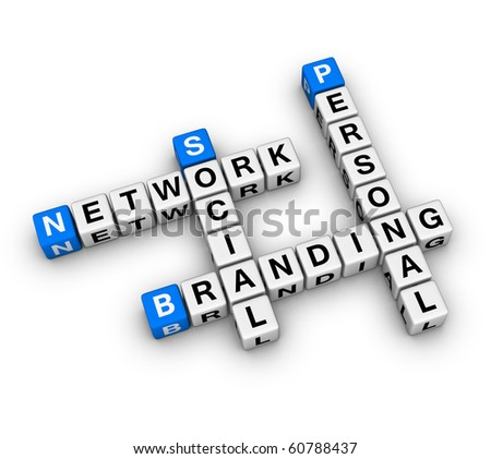 Personal Branding Social Network (3D crossword series) - stock photo