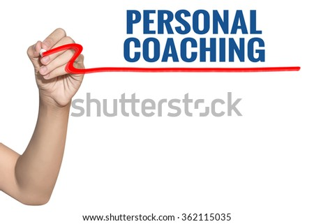 Personal Coaching word write on white background by woman hand holding highlighter pen - stock photo