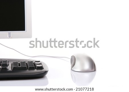 Personal computer isolated on the white background, cut off - stock photo