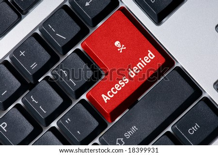 Personal computer keyboard with red key Access denied