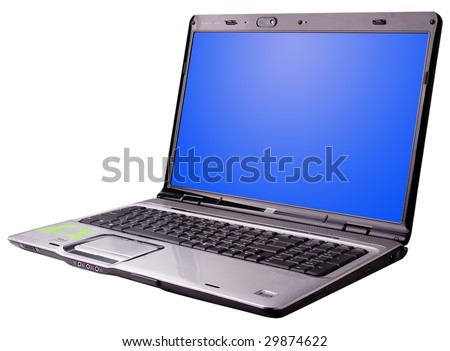 Personal computer with a large 17 inch screen. - stock photo