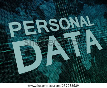 Personal Data text concept on green digital world map background
