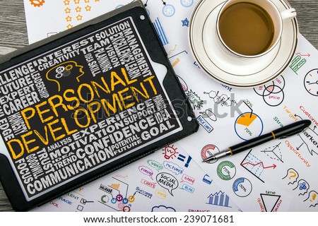 personal development concept on touch screen - stock photo