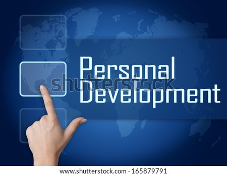 Personal Development concept with interface and world map on blue background - stock photo