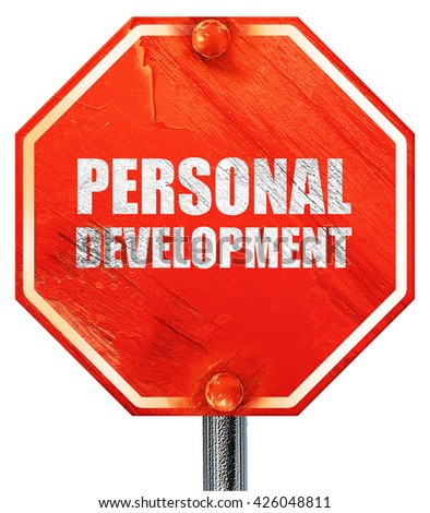 personal development, 3D rendering, a red stop sign - stock photo