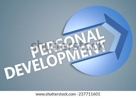 Personal Development - 3d text render illustration concept with a arrow in a circle on blue-grey background