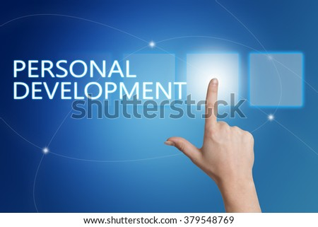 Personal Development - hand pressing button on interface with blue background. - stock photo