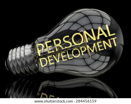 Personal Development - lightbulb on black background with text in it. 3d render illustration. - stock photo