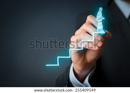 Personal development, personal and career finished growth, success, progress, motivation and potential concepts. Coach (human resources officer, supervisor) helps employee with his growth.  - stock photo