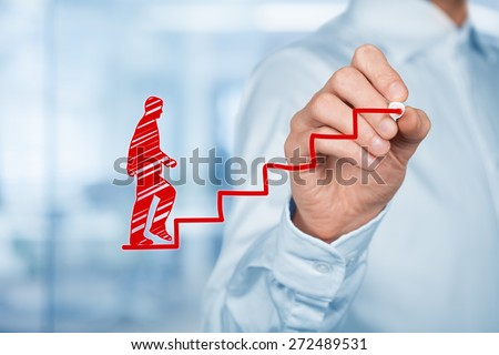 Personal development, personal and career growth, success, progress and potential concepts. Coach (human resources officer, supervisor) help employee with his growth symbolized by stairs.  - stock photo