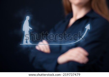 Personal development (personal growth), success, progress and potential concepts. Woman coach (human resources officer, supervisor) in background supervise businessman growth. - stock photo