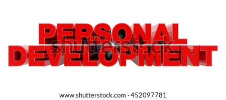 PERSONAL DEVELOPMENT red word on white background illustration 3D rendering - stock photo