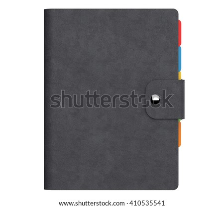 Personal Diary or Organiser Book with Black Leather Cover on a white background. 3d Rendering - stock photo