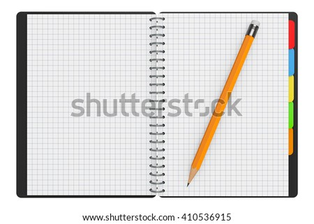 Personal Diary or Organiser Book with Blank Pages and Pencil on a white background. 3d Rendering - stock photo