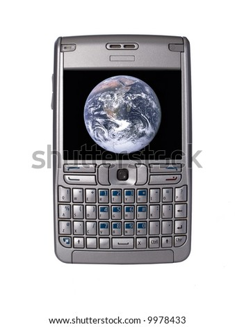 personal digital assistant with nasa earth planet image on the screen - stock photo