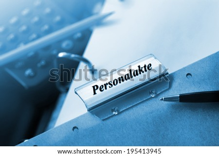 Personal File in german language - stock photo