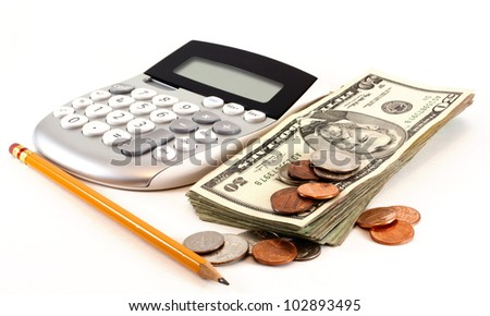 Personal finance and accounting with calculator, money and yellow pencil isolated on white background. - stock photo