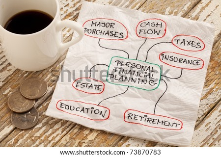 personal financial planning concept - napkin doodle with espresso coffee cup and coins on a grunge wooden table - stock photo