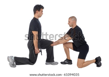 Personal Fitness trainer exercising in gym - stock photo