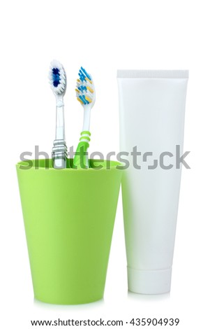 personal hygiene products on white isolated background