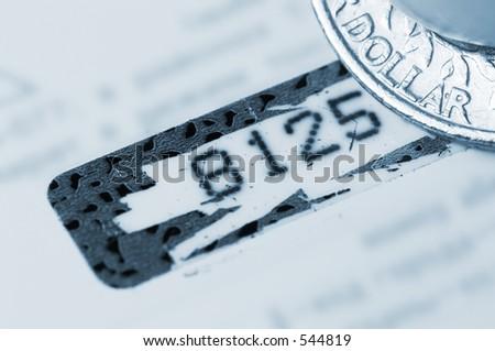 Personal identifier (closeup of credit card pin-code) - stock photo
