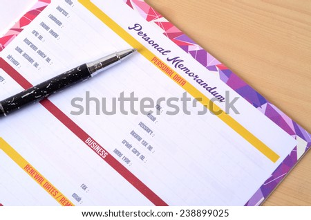 Personal information: Filling document form - stock photo