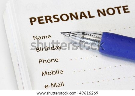 Personal information to be fill in - many uses for business. - stock photo