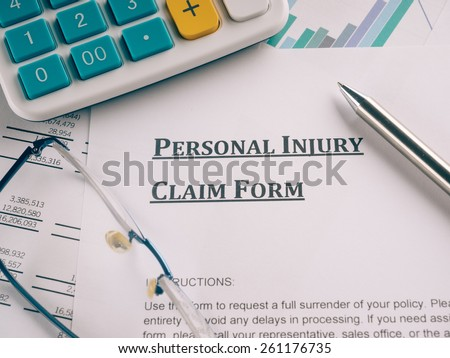 personal injury claim form - stock photo